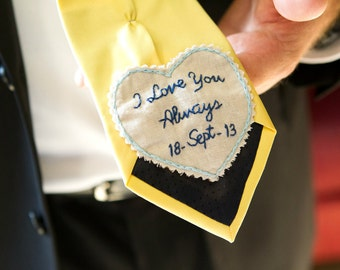 Groom Gift. Hand Embroidered Tie Patch. Groom Gift from Bride. Tie Patch. Wedding. Necktie. Groom. Father of the Bride Gifts.