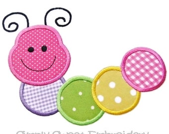 Caterpillar  Applique Machine Embroidery Design