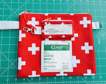Large and Small First Aid Bag, Heavy Duty First Aid Pouch, Travel First Aid Pouch, Back to School Bandage Bags, Heavy Ripstop Lining