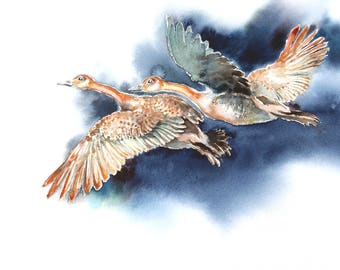 Canada Geese Watercolour Giclee Print- Flying Geese Fine Art Print