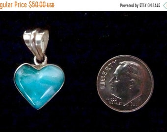 "MEMORIAL DAY SALE Awesome Dominican Larimar ""Heart"" Pendant Handmade Sterling Silver Setting Free U.S. Shipping"