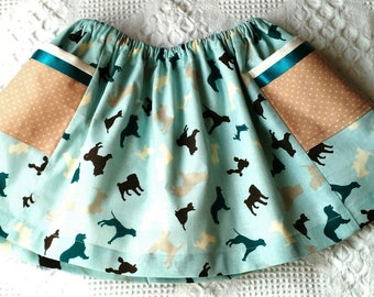 Baby girl twirl skirt, dogs print, side pockets