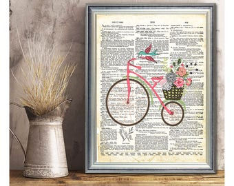 SALE-Bicycle On Vintage Page- Art Print - Wall Art Designs- Gallery Wall- Quote Prints-Collage Art Print-Original Art Print