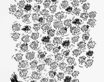 Flock & Cat - handmade lino cut print, original home interior art, birds, bird, nature, cats, wildlife, black and white, printmaking,