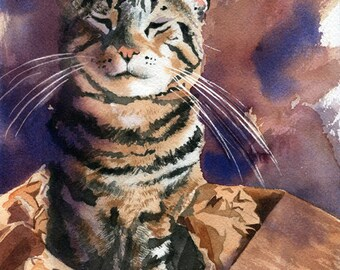 Brown Tabby Cat art Print of my watercolor painting Cat in a Box