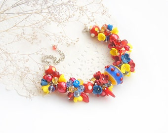 Hippie bracelet lampwork bracelet for women gift anniversary gift for grandmother gift folk jewelry flower red bracelet blue jewelry yellow