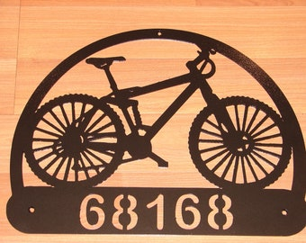 Custom Bicycle ADDRESS PLAQUE Metal Sign Personalized Name Mountain Bike