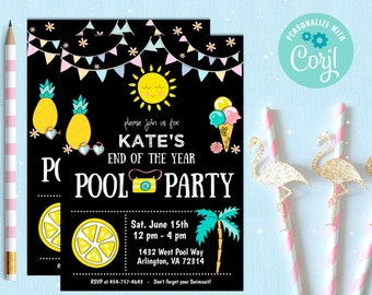 Pool Party Invitation, kick off to summer party, end of the year party, summer party, Popsicle, swim, palm tree, editable demo now, Summer