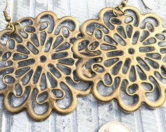 Large Boho Earrings, Bohemian Earrings, Flower Earrings,  Dangle Drop Earings, Handmade gift for her, Valentines day gifts, Best friend gift