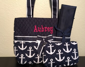 Anchor Print Monogrammed Diaper Bag Navy Blue and White