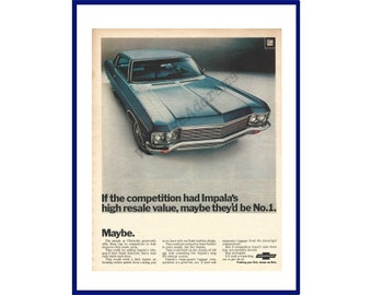 """CHEVROLET IMPALA AUTOMOBILE 1970 Vintage Extra Large Print Ad - """"If The Competition Had Impala's High Resale value, Maybe They'd Be No.1"""""""