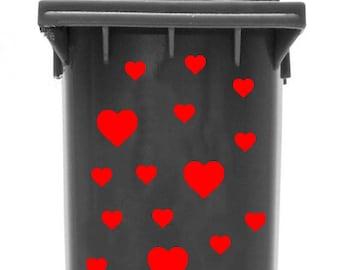 Bin Sticker 'Hearts' (font colour: light green)