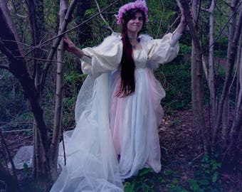 Titania Queen of the Fairy's Renaissance inspired Pink, Blue, purple and white Costume