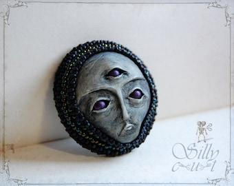 brooch - Third Eye - wearable art, sculpted & handpainted, eye, psychic, fortune, evil eye, spooky face, ooak