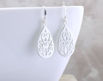 Boho Teardrop Earrings Silver Paisley Earrings Brushed Matte Silver Earrings Silver Earrings Silver Scroll Earrings Unique Jewelry Gift