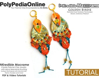 Macrame Jewelry, DIY Macrame, Macrame Pattern, Macrame Tutorial, Macrame Earring, Earring Pattern, DIY Beads, Polymer Clay, Earring Tutorial