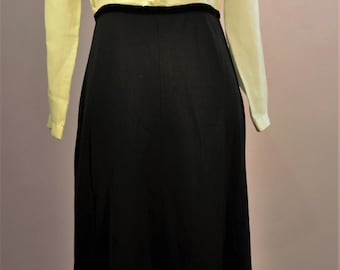 1960's dress suit with frill detail to front. retro Blouse and skirt Great for the office
