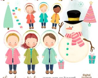 Christmas Clipart, Christmas Children Clipart, Winter Clipart,Snowman Clipart, Christmas tree Clipart, Present Clipart, Journal Clipart
