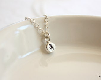 Tiny Initial Necklace, Hand Stamped Necklace, Personalized Necklace, Minimal Jewelry
