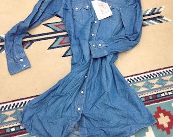 Rockmount Ranch Wear Vintage Denim Dress Western Styling Cowboy Style