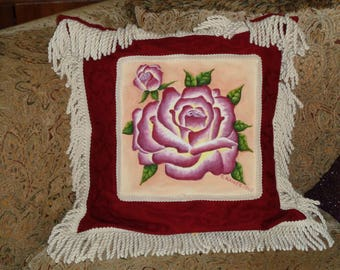 Red Roses Hand Painted Decorative Pillow