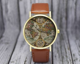 World map watch etsy antique world map watch old map cartography travel gift ladies watch gumiabroncs Choice Image