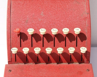 vintage Tom Thumb metal cash register Western Stamping Company antique toy cash register red metal cash machine