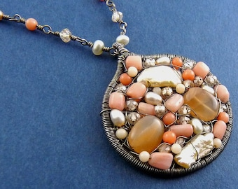 Sterling Silver, Pearl, Coral & Glass Bead Mosaic Pendant, Beaded Chain- Intricate Wire Wrapping