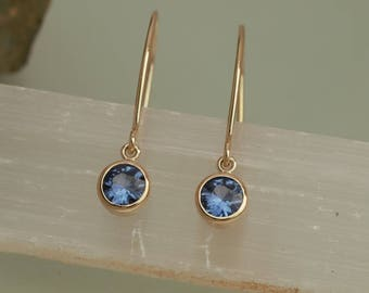 Handmade Blue Sapphire 14k Gold Dangle Earrings
