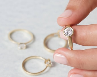 Audrey, solitaire gold engagement ring, white diamond engagement ring, round diamond solitaire engagement ring, round cut diamond ring gold