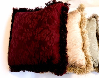 Red Green & Gold Fringe Throw Pillows (Set of 3)
