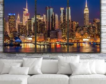 New York City Skyline, Brilliant Night New York Canvas Art, New York City, Large Canvas Wall Art, New York Art, Big Apple,