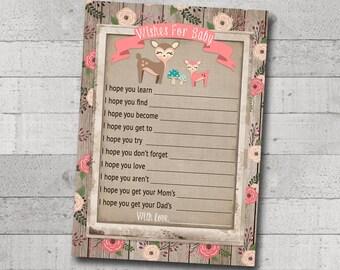 Girl Baby Shower Wishes For Baby Little Deer Woodland Animals Creatures Floral Rustic Wood Burlap Vintage Printable Instant Download Digital