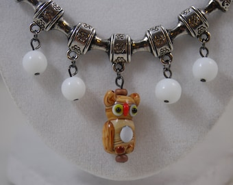 Lampwork Owl Necklace and Earring Set