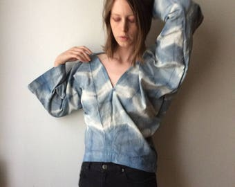Katano Shibori Indigo Dyed Broad Cloth Blouse Fruit Vat Natural Dye