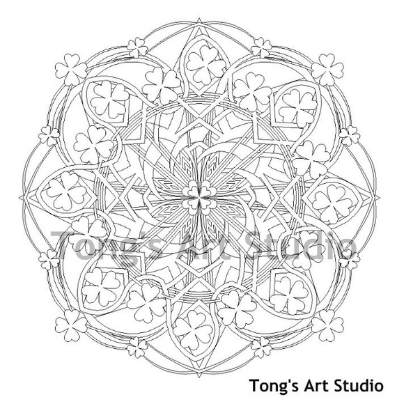 Printable Mandala Coloring-007 St Patrick's Day coloring