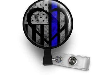 Thin Blue Line Symbolic Heart Retractable ID Badge Reel