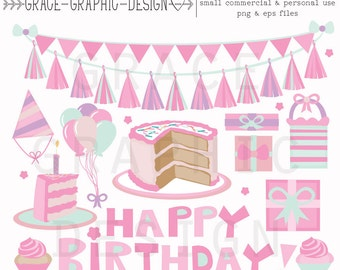 Birthday Party clipart, commercial use clipart, CLIPART SET, Girl's birthday clipart, instant download hand drawn doodle clipart set, Vector
