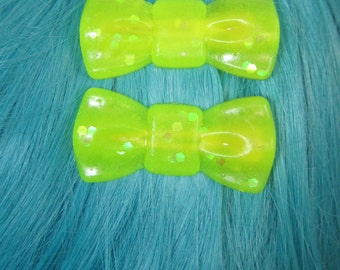 Neon Yellow Bows with Holographic Glitter Epoxy Resin Hair Clips Femme Jewelry Fairy Kei Kawaii Pastel Easter Basket Stuffer