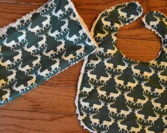 SALE NEW Homemade Baby Boy Girl Gender Neutral Hunter Green White Deer Buck Winter Chenille bib burp cloth Shower Gift Set