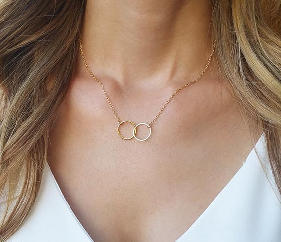 Best friend necklace double circle necklace gold necklace aloadofball Images