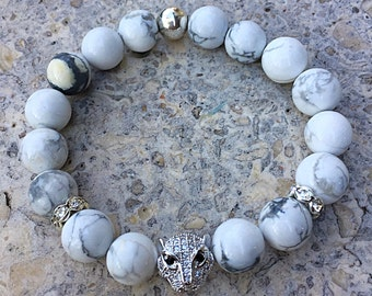 Howlite bracelet, micro pave, leopard head, white jewelry, white turquoise, turquoise jewelry, men's bracelet, women's bracelet, silver