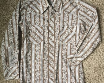 70s Brown Pearl Snap Western Buttondown