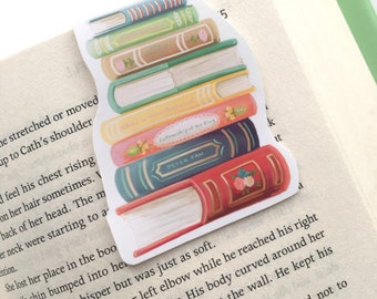 MAGNETIC BOOKMARK - Book Stack Book Lover Reader Inspirational Quote Magnetic Bookmark