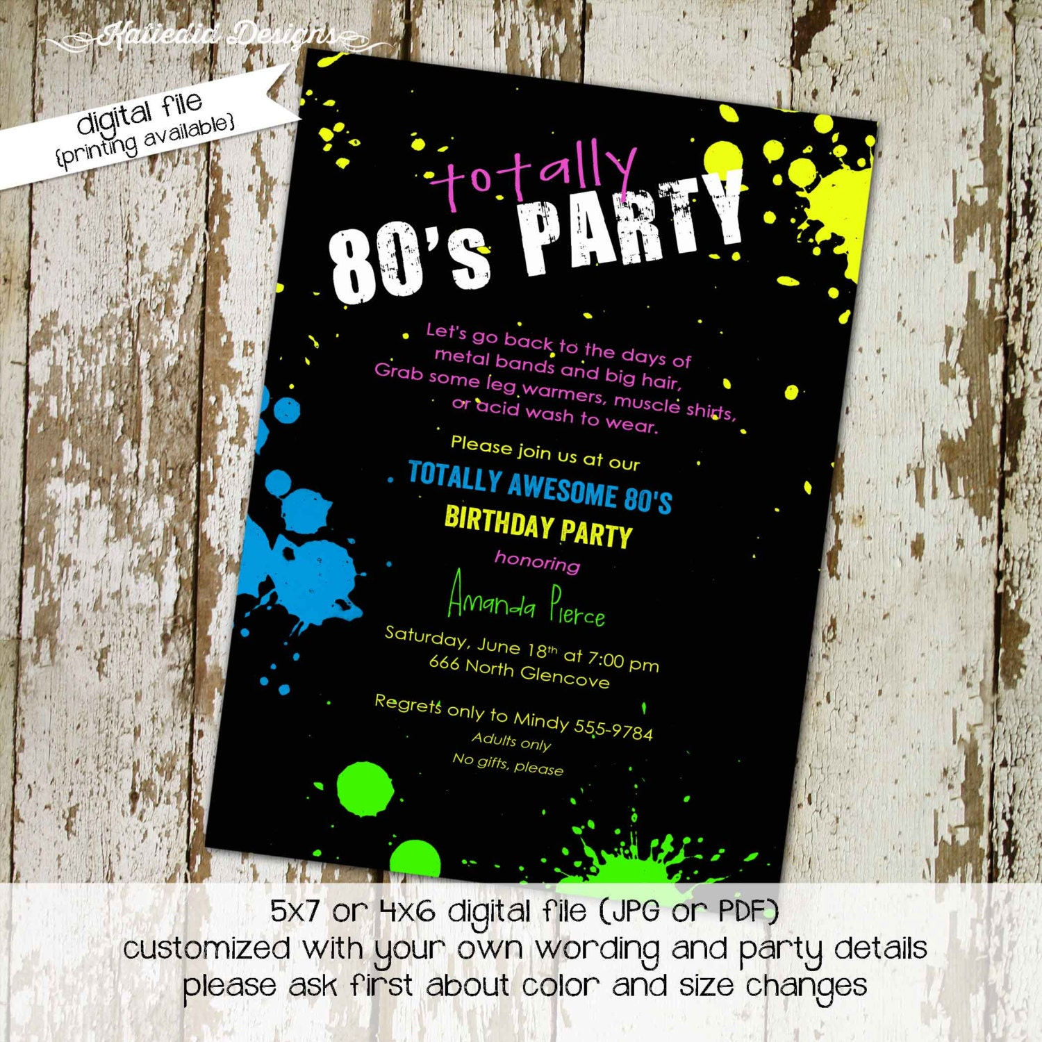 80s party invitation Stock the bar couples shower Totally 80\'s party ...