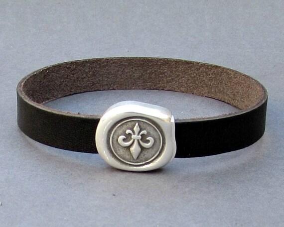 Fleur De Lis Leather Bracelet Cuff Leather Mens Bracelet Cuff Silver Plating  Customized On Your Wrist