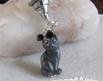 Black Cat Witch Halloween Charm Pendant Zipper Pull EHAG