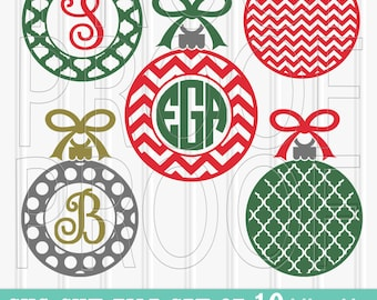 Christmas Monogram SVG File Set of 10 ornament cut files includes svg/png/jpg formats! Commercial use approved! ornament christmas svg