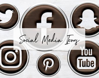 Wooden Flair Social Icons Set, Flair Social Media Icons, 15 PNG Flair Icons, Round Social Media Buttons, Instant Download, BUY5FOR8