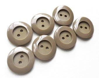 eco friendly modern minimalist light taupe buttons with shiny rims and recessed matte centers--matching lot of 7